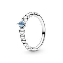 March Aqua Blue Ring with Man-Made Water Blue Crystal