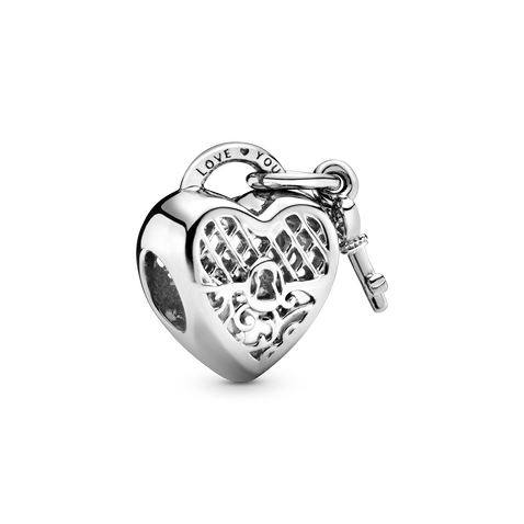 Love You Heart Padlock Charm