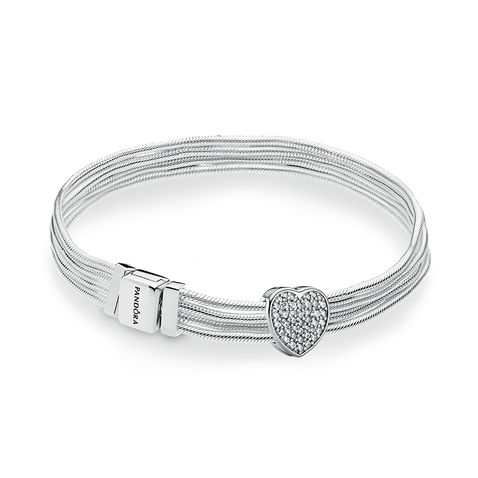 Pandora Reflexions Multi Snake Heart Silver Bracelet & Charm Gift Set