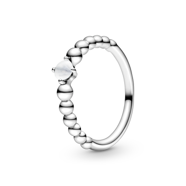 April Milky White Ring with Man-Made Milky White Crystal