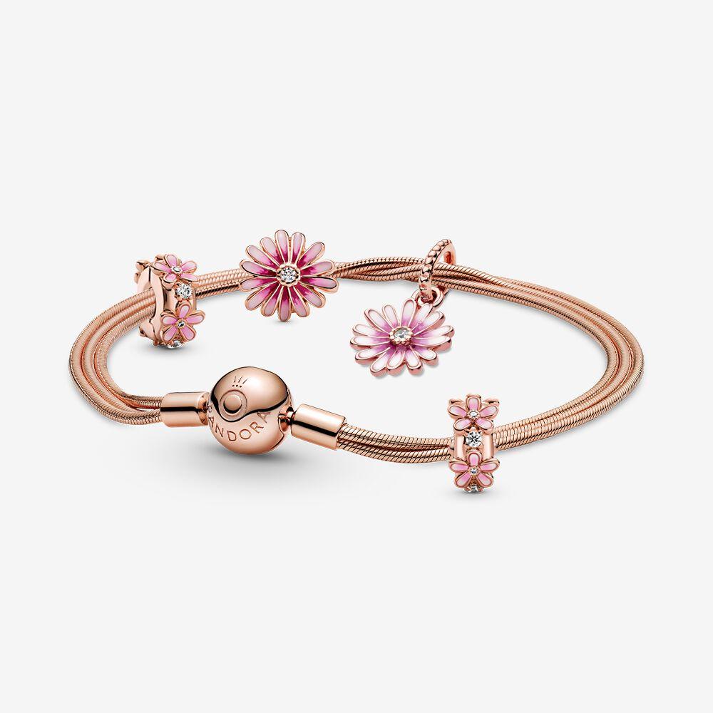 Pink Daisy Charm and Bracelet Set | Pandora AU