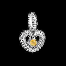 November Honey Coloured Heart Hanging Charm with Man-Made Honey Coloured Crystal