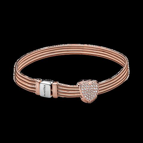 Pandora Rose Reflexions Multi Snake Heart Bracelet & Charm Gift set