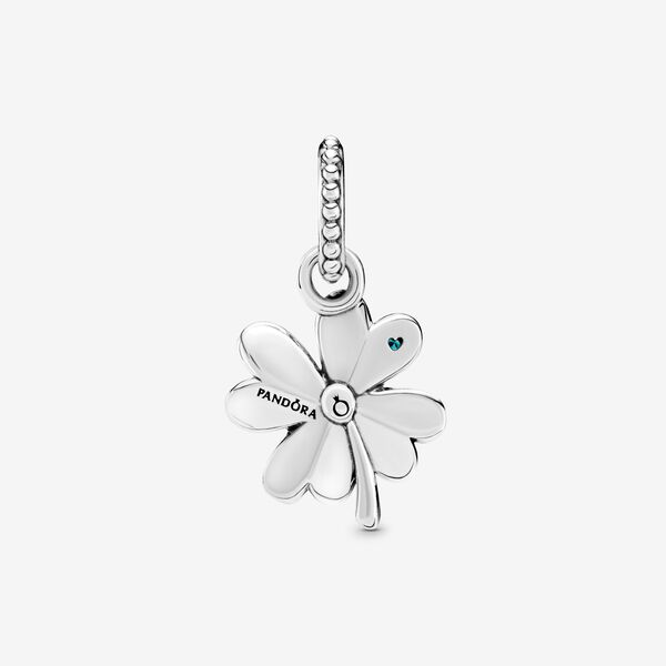 Lucky Four Leaf Clover Hanging Charm Sterling Silver