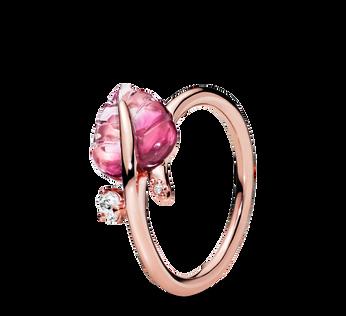 Pandora Rose Pink Murano Glass Leaf Ring