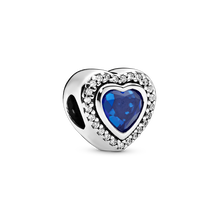 Sparkling Blue Heart Charm