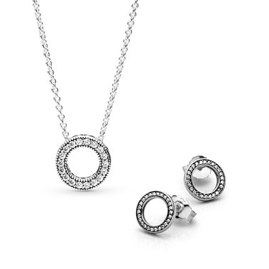 Circle of Sparkle Necklace and Earring Set