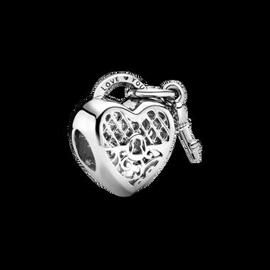 Love You Heart Padlock Charm