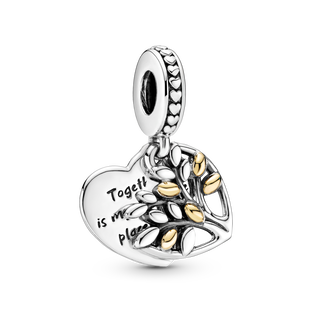 Two-Tone Family Tree Heart Dangle Charm
