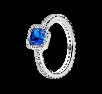 Blue Square Sparkle Halo Ring