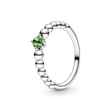 August Spring Green Ring with Man-Made Spring Green Crystal