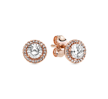 Round Sparkle Halo Stud Earrings