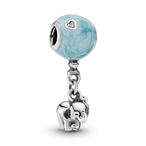 Elephant & Blue Balloon Dangle Charm