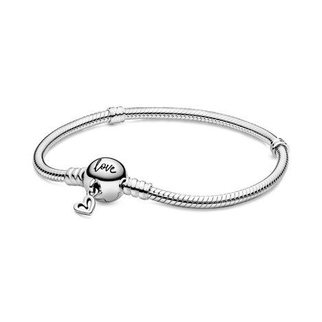 Pandora Moments Freehand Heart Clasp Snake Chain Bracelet