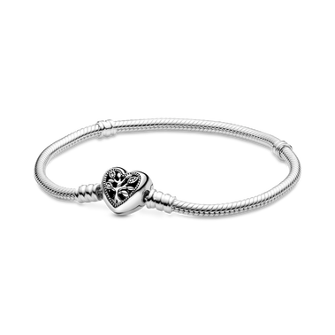 Pandora Moments Snake Chain Bracelet with Family Tree Heart Clasp