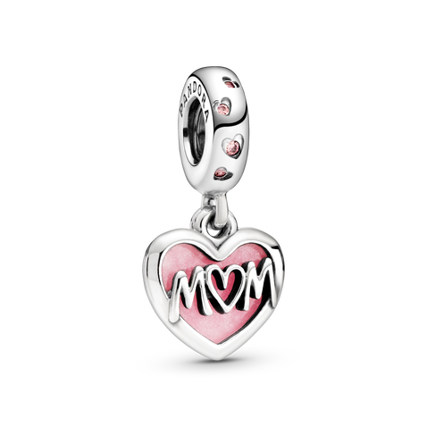 Mum Script Heart Dangle Charm