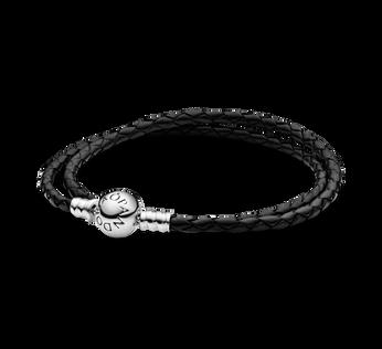 MOMENTS Black Double Woven Leather Bracelet