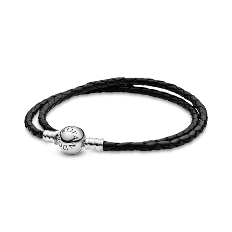 MOMENTS Black Double Woven Leather Bracelet