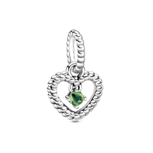 August Spring Green Heart Hanging Charm with Man-Made Spring Green Crystal