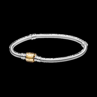 Pandora Moments Two-Tone Barrel Clasp Snake Chain Bracelet