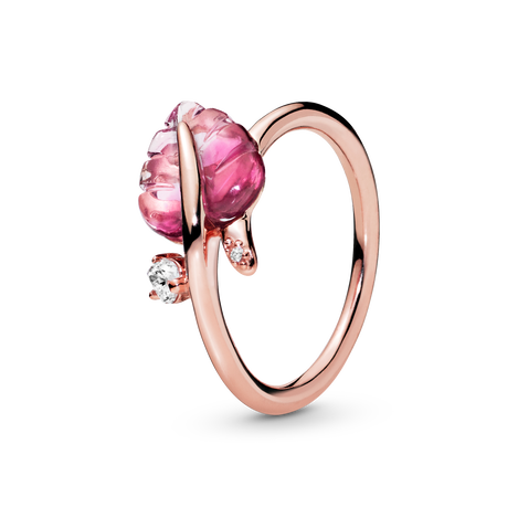 Pandora Rose Pink Murano Glass Leaf Ring