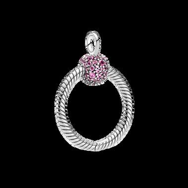 Pandora Moments Small Pink Pavé O Pendant