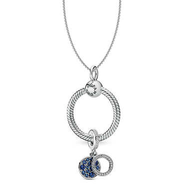 Circle & Disc Blue Charm, O Pendant & Necklace Gift Set