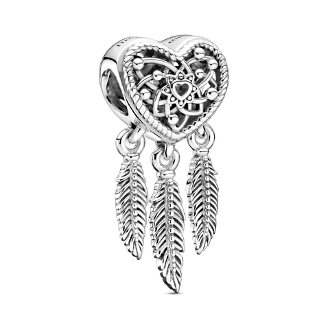 Openwork Heart & Three Feathers Dreamcatcher Charm