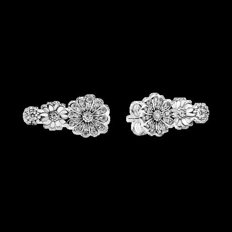 Sparkling Daisy Flower Trio Stud Earrings