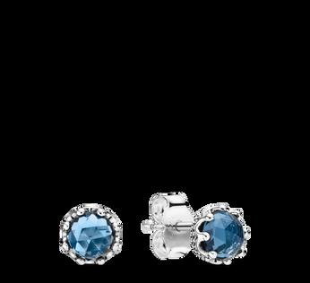 Blue Sparkling Crown Stud Earrings