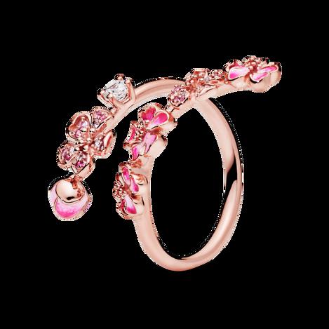 Pandora Rose Peach Blossom Flower Branch Ring