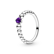 February Purple Ring with Man-Made Purple Crystal