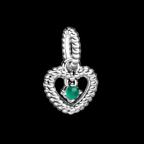 Dark Green Beaded Heart Dangle Charm