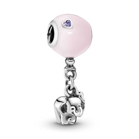 Elephant & Pink Balloon Dangle Charm