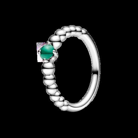 May Dark Green Ring with Man-Made Dark Green Crystal