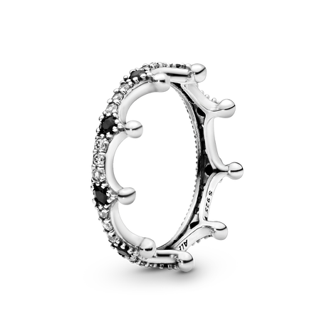 Clear & Black Sparkling Crown Ring