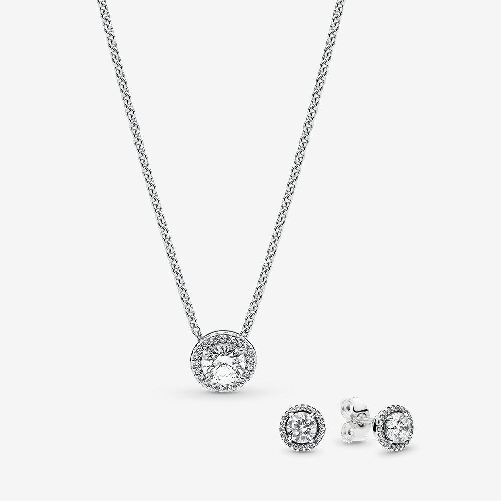 Classic Elegance Silver Earring Necklace Gift Set Pandora Estore Pandora Au
