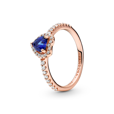 Sparkling Blue Elevated Heart Ring