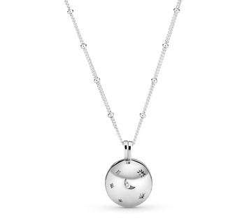 Polished Moon & Star Pendant Necklace