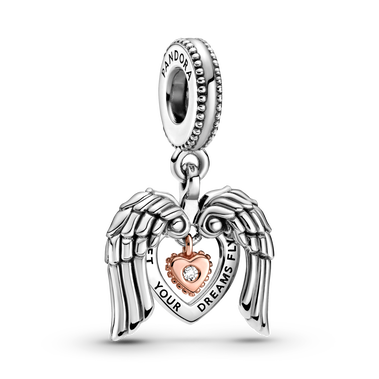 Pandora Club 2021 Angel Wings & Heart Dangle Charm