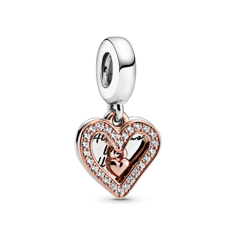 Sparkling Freehand Heart Dangle Charm