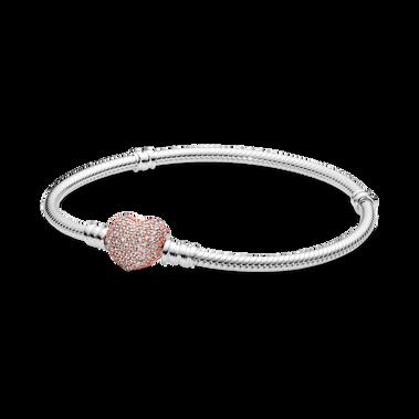Pandora Moments Pavé Heart Clasp Snake Chain Bracelet