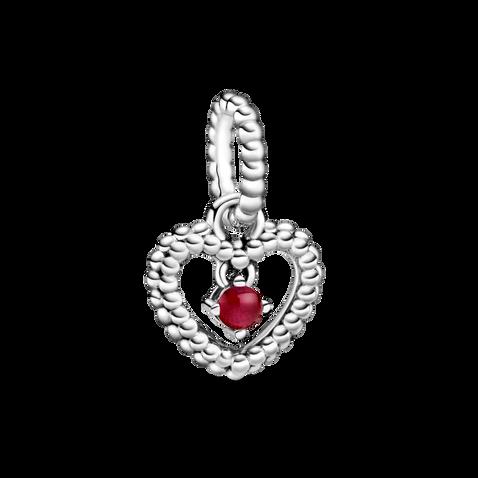 Dark Red Beaded Heart Dangle Charm