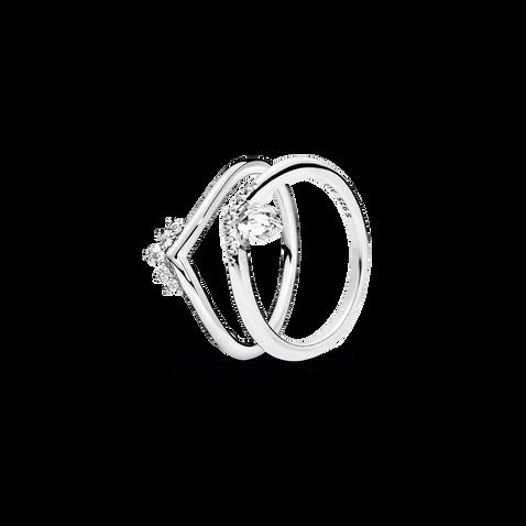 Tiara Wishbone Ring Stack