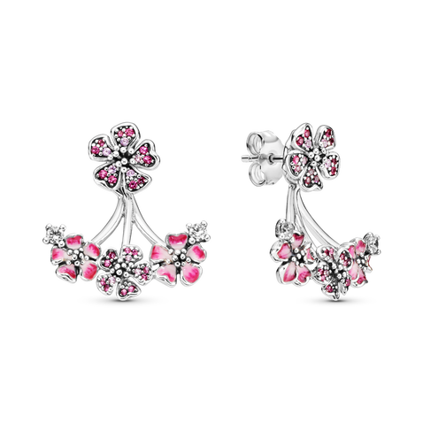 Pink Peach Blossom Flower Stud Earrings