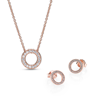 Pandora Rose Circle of Sparkle Necklace and Earring Set