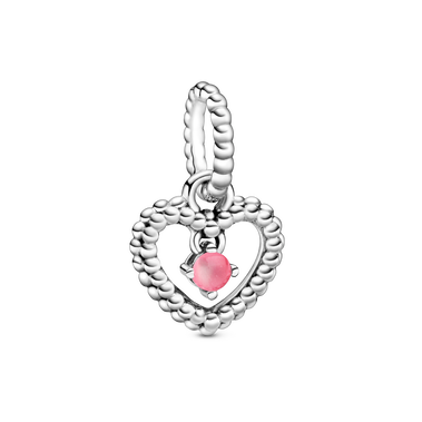 October Petal Pink Heart Hanging Charm with Man-Made Petal Pink Crystal