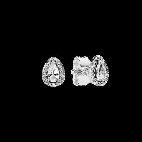 Sparkling Teardrop Halo Stud Earrings