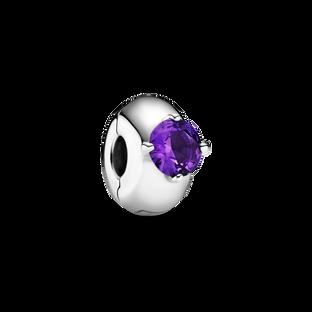 Purple Round Solitaire Clip