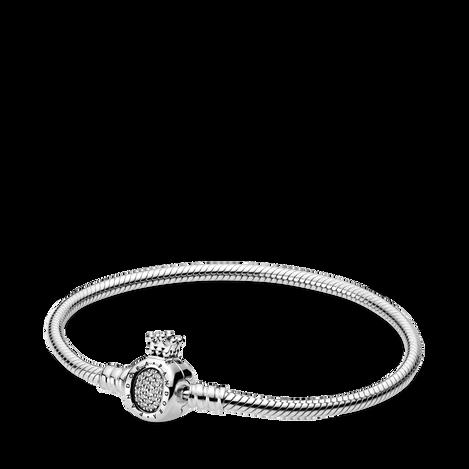 Pandora Moments Crown O Clasp Snake Chain Bracelet